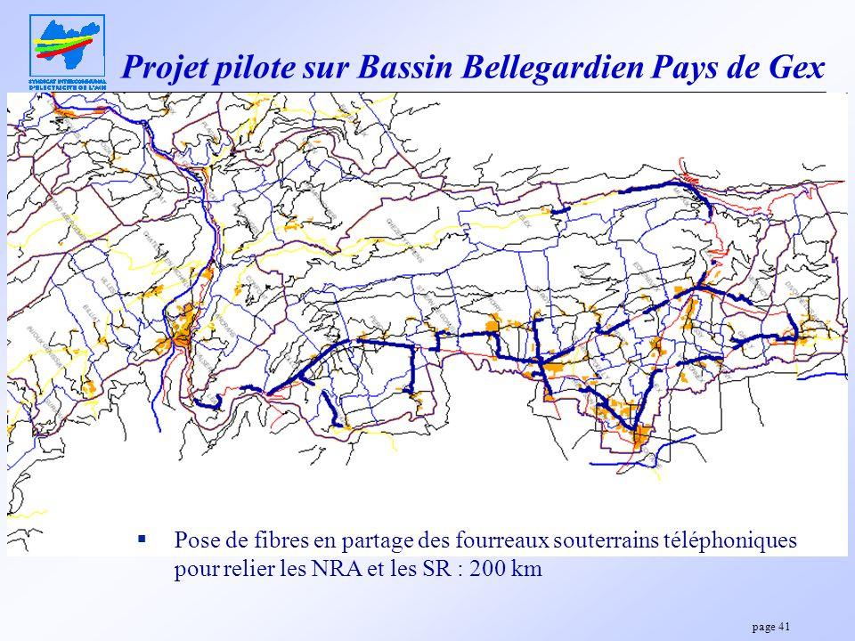 page 41 Projet pilote sur Bassin Bellegardien Pays de Gex Pose de fibres en partage des fourreaux souterrains téléphoniques pour relier les NRA et les