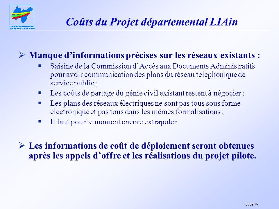 page 46 Coûts du Projet départemental LIAin Manque dinformations précises sur les réseaux existants : Saisine de la Commission dAccès aux Documents Ad