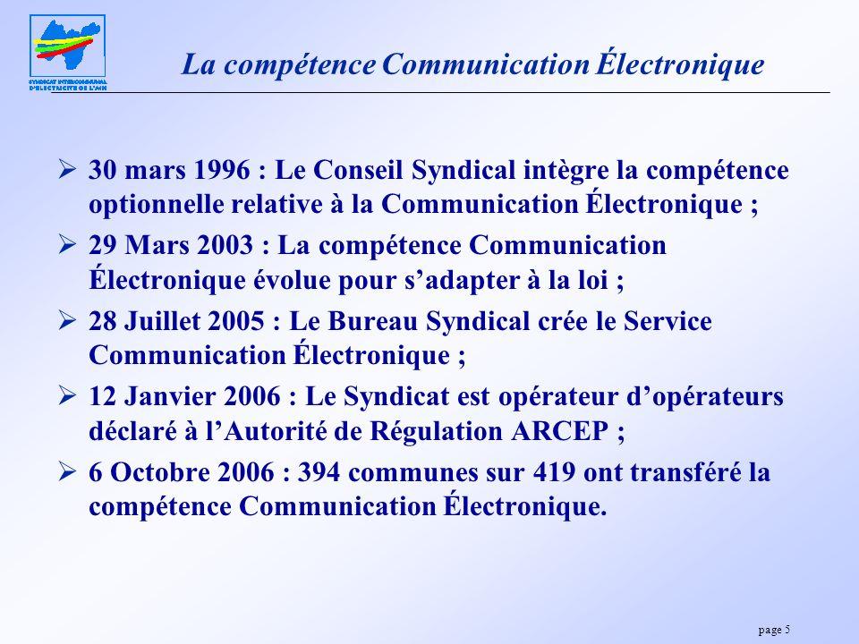 page 5 La compétence Communication Électronique 30 mars 1996 : Le Conseil Syndical intègre la compétence optionnelle relative à la Communication Élect