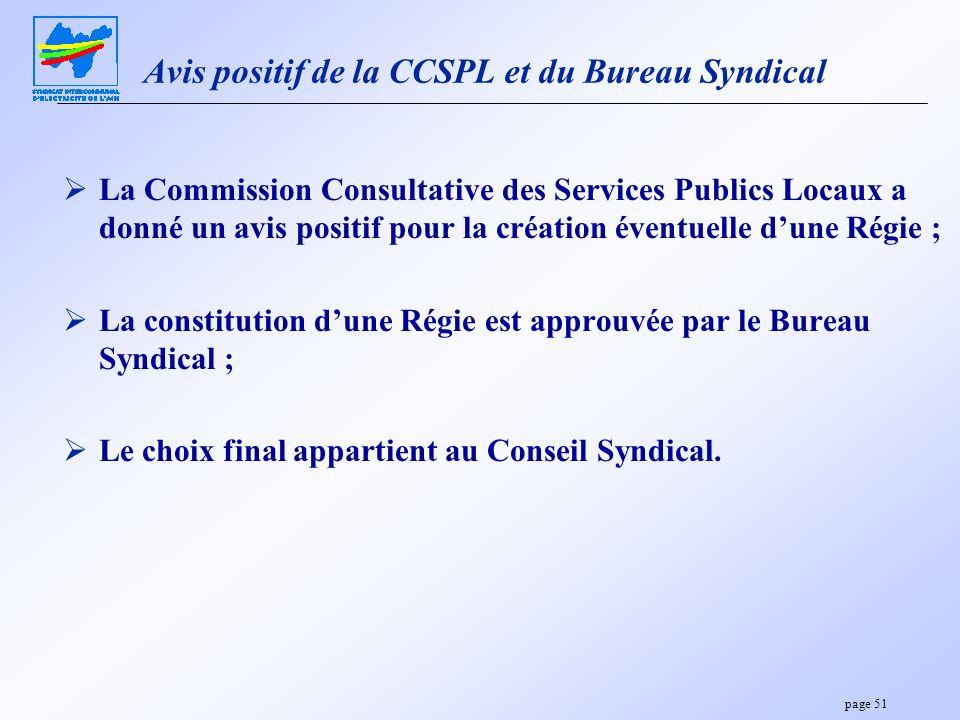 page 51 Avis positif de la CCSPL et du Bureau Syndical La Commission Consultative des Services Publics Locaux a donné un avis positif pour la création