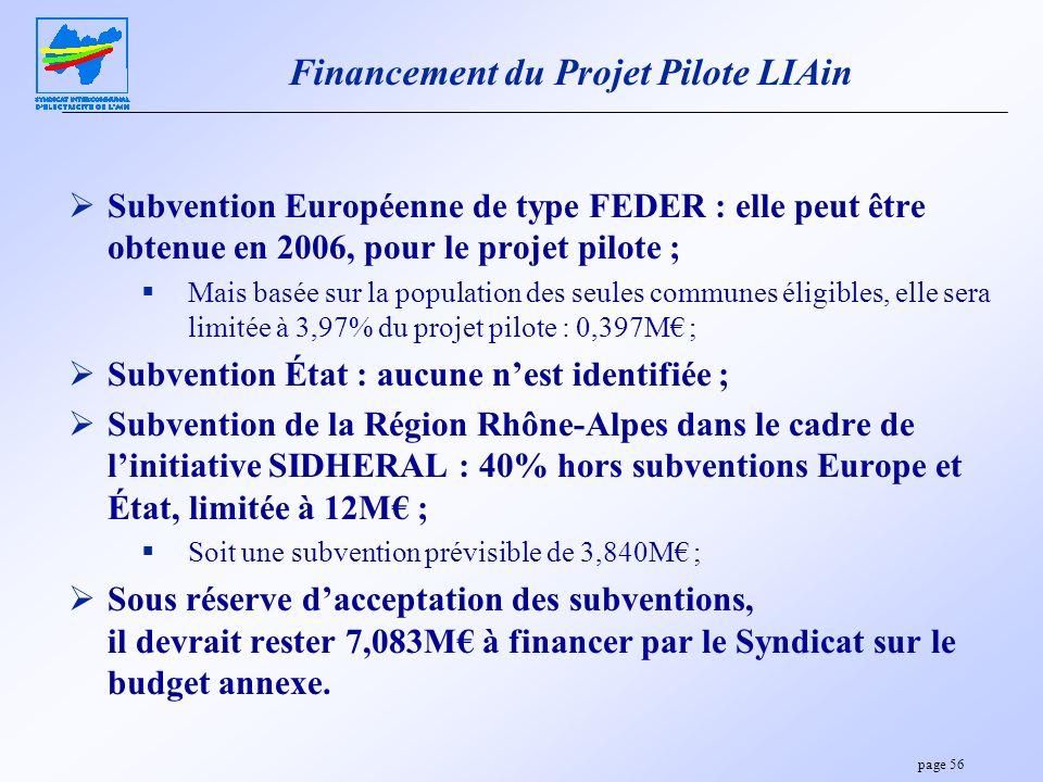 page 56 Financement du Projet Pilote LIAin Subvention Européenne de type FEDER : elle peut être obtenue en 2006, pour le projet pilote ; Mais basée su