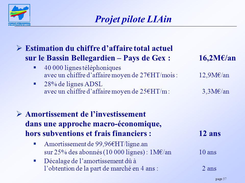 page 57 Projet pilote LIAin Estimation du chiffre daffaire total actuel sur le Bassin Bellegardien – Pays de Gex :16,2M/an 40 000 lignes téléphoniques