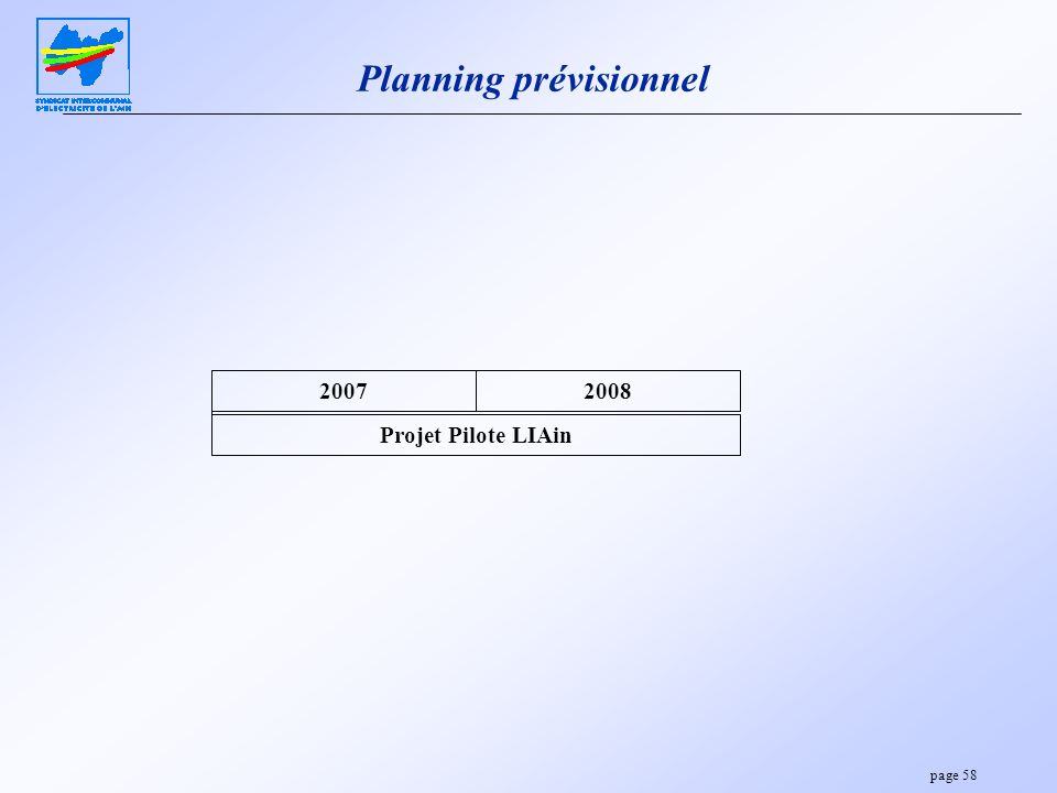 page 58 Planning prévisionnel Projet Pilote LIAin 20072008