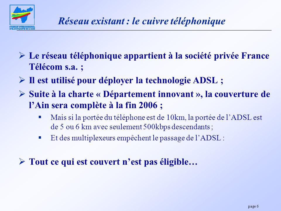 page 6 Réseau existant : le cuivre téléphonique Le réseau téléphonique appartient à la société privée France Télécom s.a. ; Il est utilisé pour déploy