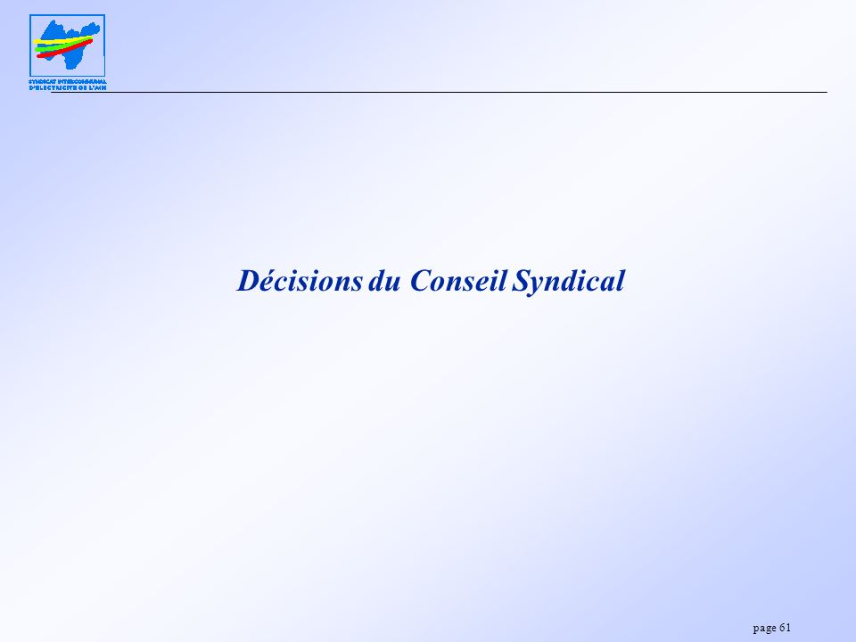 page 61 Décisions du Conseil Syndical