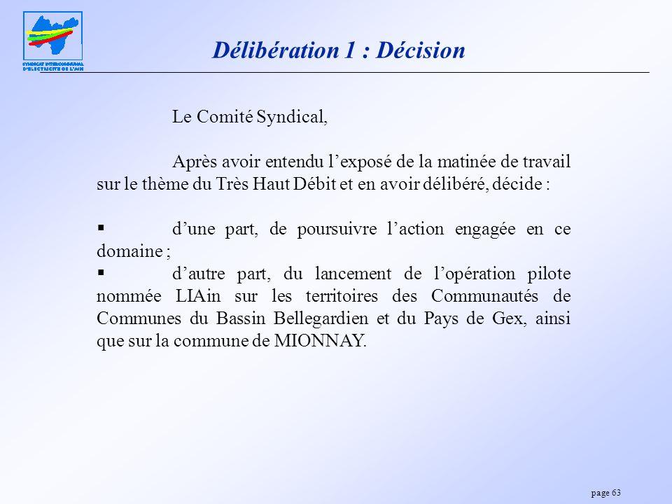 page 63 Délibération 1 : Décision Le Comité Syndical, Après avoir entendu lexposé de la matinée de travail sur le thème du Très Haut Débit et en avoir