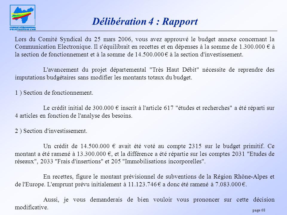 page 68 Délibération 4 : Rapport Lors du Comité Syndical du 25 mars 2006, vous avez approuvé le budget annexe concernant la Communication Electronique