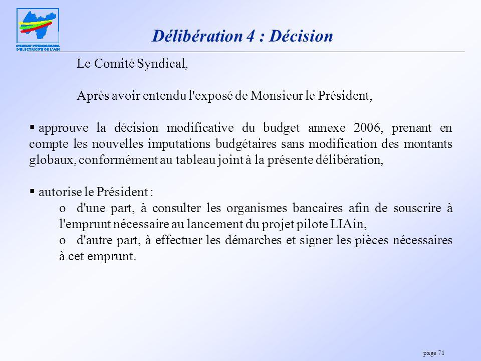 page 71 Délibération 4 : Décision Le Comité Syndical, Après avoir entendu l'exposé de Monsieur le Président, approuve la décision modificative du budg