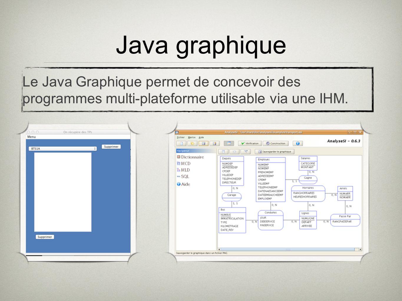 Java graphique Le Java Graphique permet de concevoir des programmes multi-plateforme utilisable via une IHM.