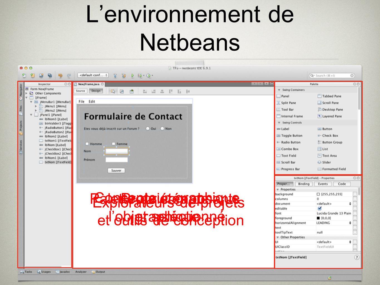 Lenvironnement de Netbeans Concepteur graphique Propriétés de lobjet seléctionné Palette de composants graphique Explorateurs de projets et outils de