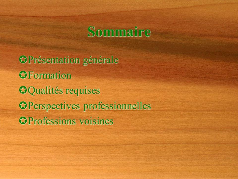 Sommaire Présentation générale Formation Qualités requises Perspectives professionnelles Professions voisines P résentation générale F ormation Q uali