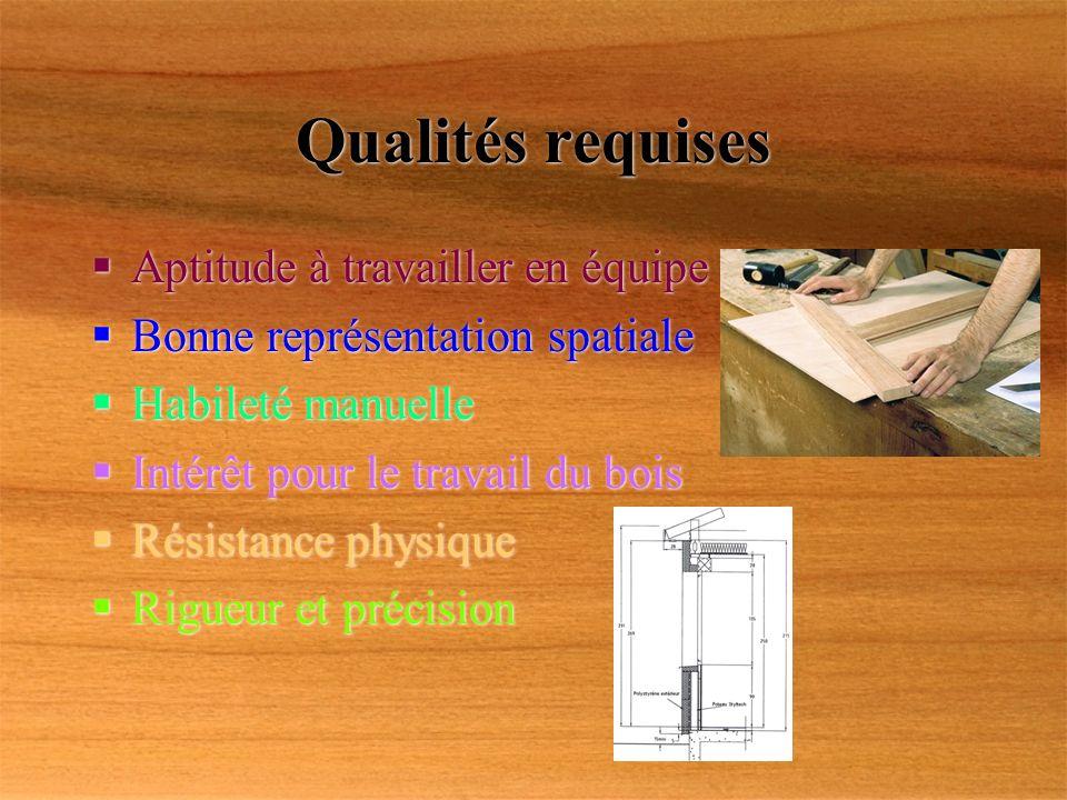 Qualités requises Aptitude à travailler en équipe Bonne représentation spatiale Habileté manuelle Intérêt pour le travail du bois Résistance physique