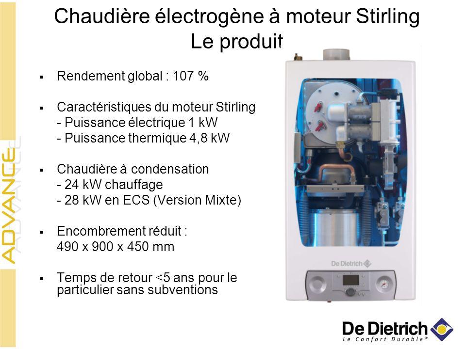 Chaudière électrogène à moteur Stirling Le produit Rendement global : 107 % Caractéristiques du moteur Stirling - Puissance électrique 1 kW - Puissanc
