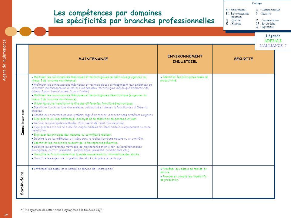 Agent de maintenance 19 Les compétences par domaines les spécificités par branches professionnelles MAINTENANCE ENVIRONNEMENT INDUSTRIEL SECURITE Maît