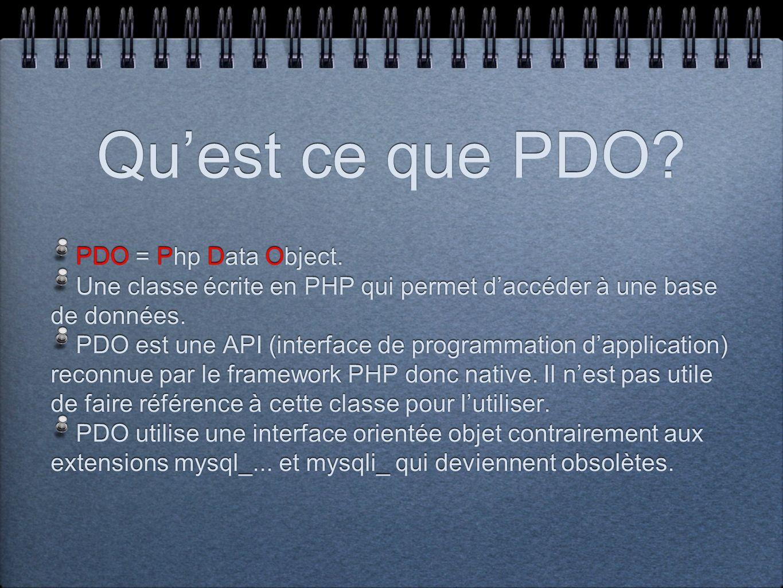 Quest ce que PDO? PDO = Php Data Object. Une classe écrite en PHP qui permet daccéder à une base de données. PDO est une API (interface de programmati