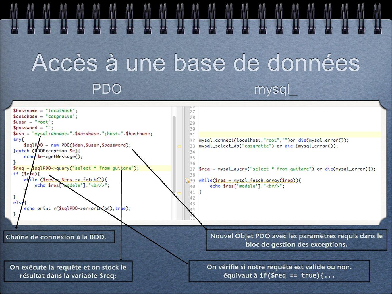 Travail à faire: Vous reprendrez votre projet PHP précédent et ladapterez à la norme PDO.