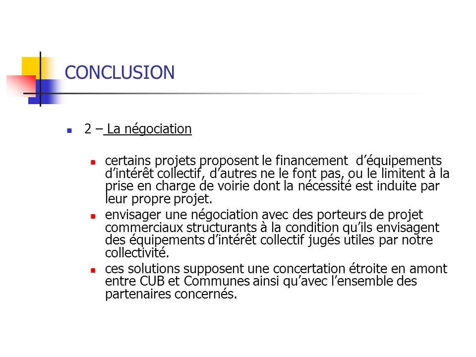 CONCLUSION 2 – La négociation certains projets proposent le financement déquipements dintérêt collectif, dautres ne le font pas, ou le limitent à la p