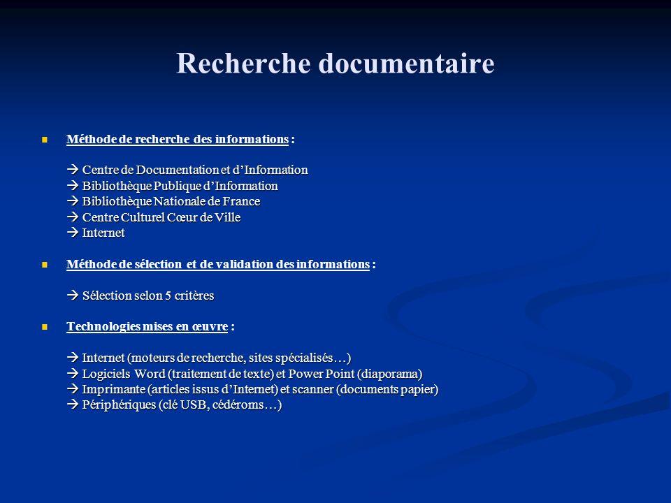 Recherche documentaire Méthode de recherche des informations : Centre de Documentation et dInformation Centre de Documentation et dInformation Bibliot