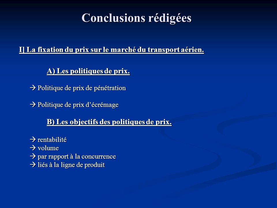 Conclusions rédigées I] La fixation du prix sur le marché du transport aérien. A) Les politiques de prix. Politique de prix de pénétration Politique d