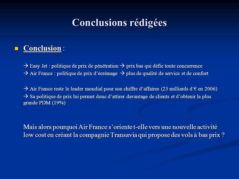 Conclusions rédigées Conclusion : Conclusion : Easy Jet : politique de prix de pénétration prix bas qui défie toute concurrence Easy Jet : politique d