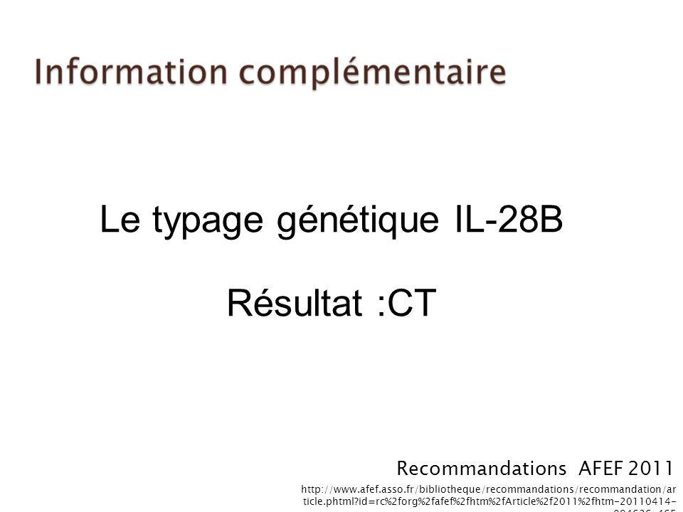 Le typage génétique IL-28B Résultat :CT Recommandations AFEF 2011 http://www.afef.asso.fr/bibliotheque/recommandations/recommandation/ar ticle.phtml?i