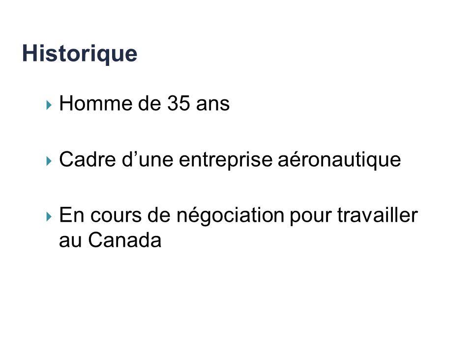 Homme de 35 ans Cadre dune entreprise aéronautique En cours de négociation pour travailler au Canada Historique