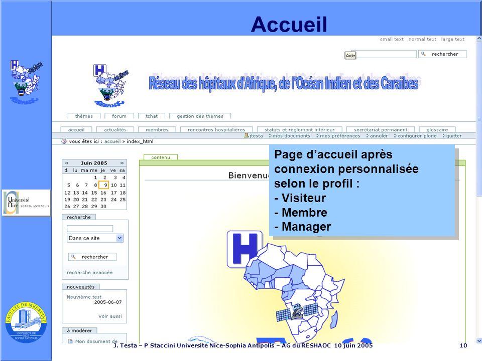 J. Testa – P Staccini Université Nice-Sophia Antipolis – AG du RESHAOC 10 juin 200510 Page daccueil après connexion personnalisée selon le profil : -