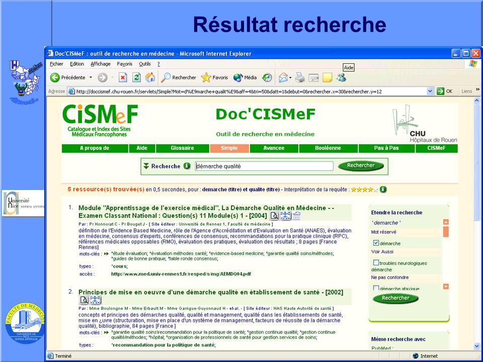 J. Testa – P Staccini Université Nice-Sophia Antipolis – AG du RESHAOC 10 juin 200518 Résultat recherche