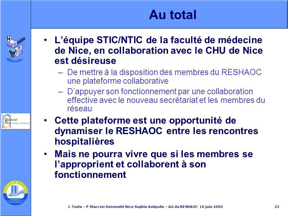 J. Testa – P Staccini Université Nice-Sophia Antipolis – AG du RESHAOC 10 juin 200523 Au total Léquipe STIC/NTIC de la faculté de médecine de Nice, en
