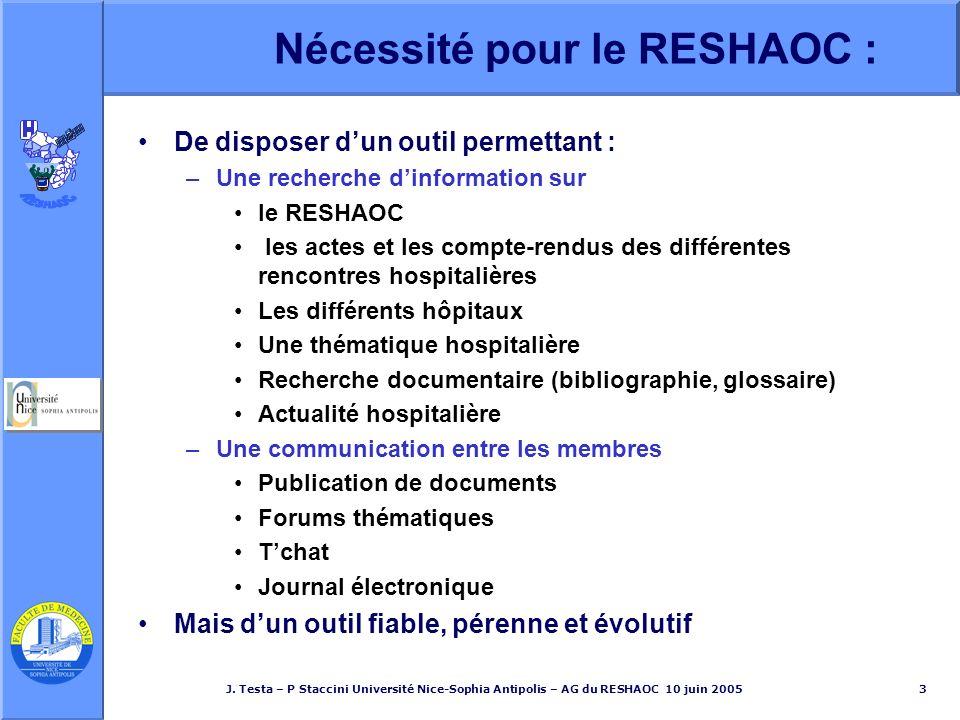 J. Testa – P Staccini Université Nice-Sophia Antipolis – AG du RESHAOC 10 juin 20053 Nécessité pour le RESHAOC : De disposer dun outil permettant : –U