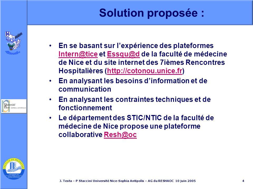 J. Testa – P Staccini Université Nice-Sophia Antipolis – AG du RESHAOC 10 juin 20054 Solution proposée : En se basant sur lexpérience des plateformes