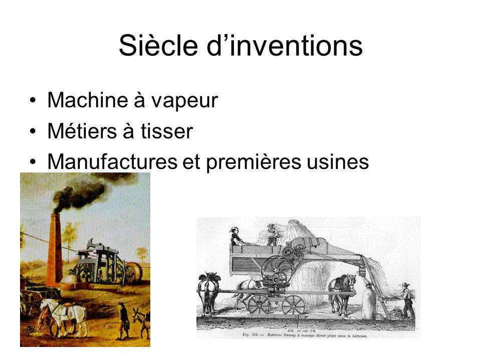 Siècle dinventions Machine à vapeur Métiers à tisser Manufactures et premières usines
