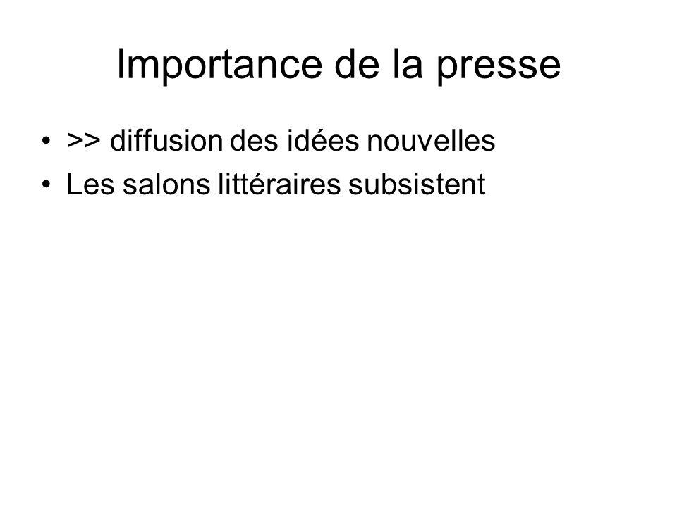 Importance de la presse >> diffusion des idées nouvelles Les salons littéraires subsistent
