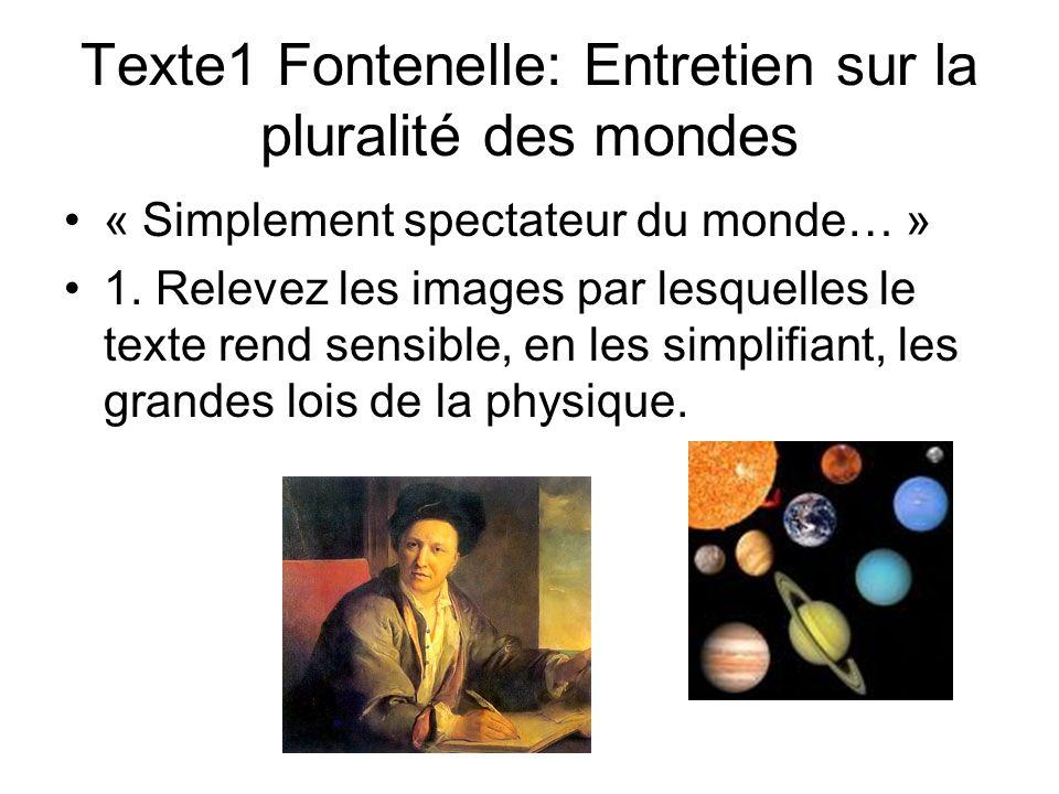 Texte1 Fontenelle: Entretien sur la pluralité des mondes « Simplement spectateur du monde… » 1. Relevez les images par lesquelles le texte rend sensib