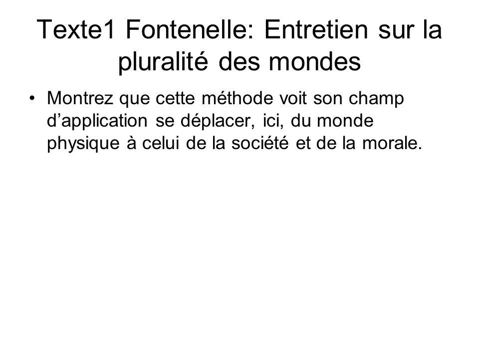 Texte1 Fontenelle: Entretien sur la pluralité des mondes Montrez que cette méthode voit son champ dapplication se déplacer, ici, du monde physique à c