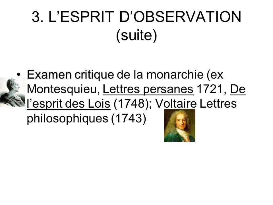 3. LESPRIT DOBSERVATION (suite) Examen critiqueExamen critique de la monarchie (ex Montesquieu, Lettres persanes 1721, De lesprit des Lois (1748); Vol