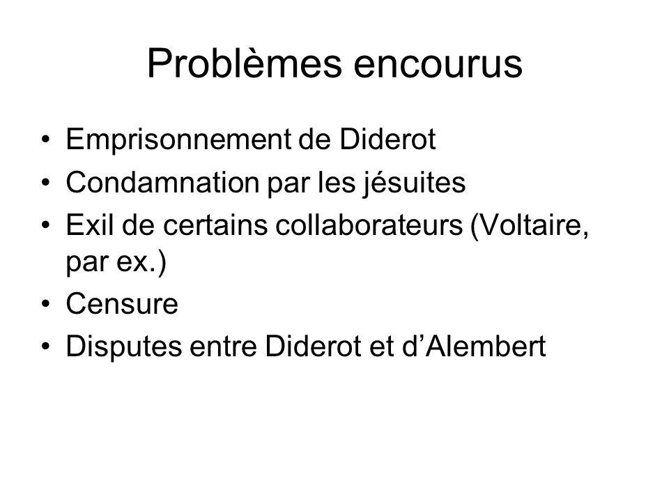 Problèmes encourus Emprisonnement de Diderot Condamnation par les jésuites Exil de certains collaborateurs (Voltaire, par ex.) Censure Disputes entre
