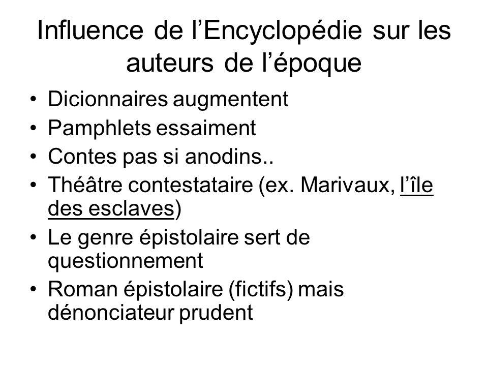 Influence de lEncyclopédie sur les auteurs de lépoque Dicionnaires augmentent Pamphlets essaiment Contes pas si anodins.. Théâtre contestataire (ex. M