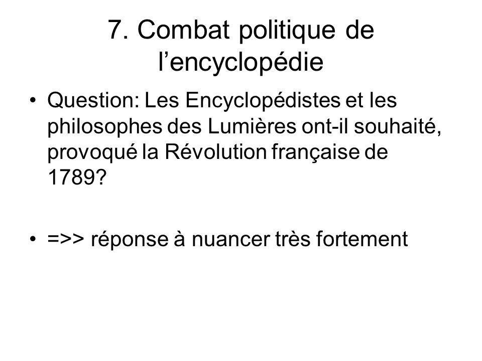 7. Combat politique de lencyclopédie Question: Les Encyclopédistes et les philosophes des Lumières ont-il souhaité, provoqué la Révolution française d
