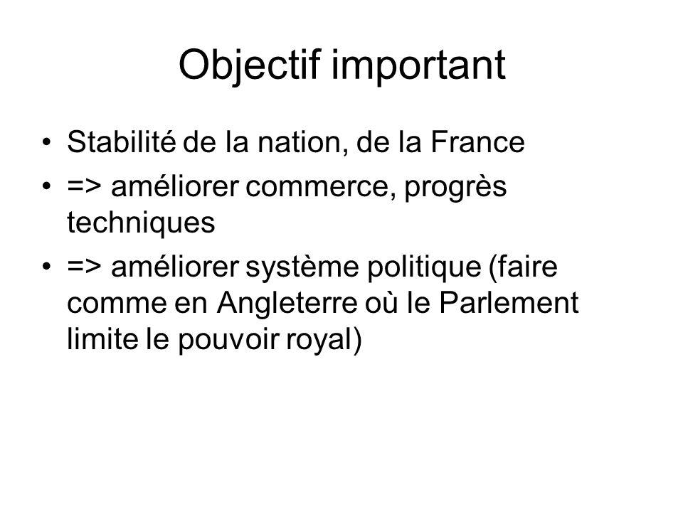 Objectif important Stabilité de la nation, de la France => améliorer commerce, progrès techniques => améliorer système politique (faire comme en Angle