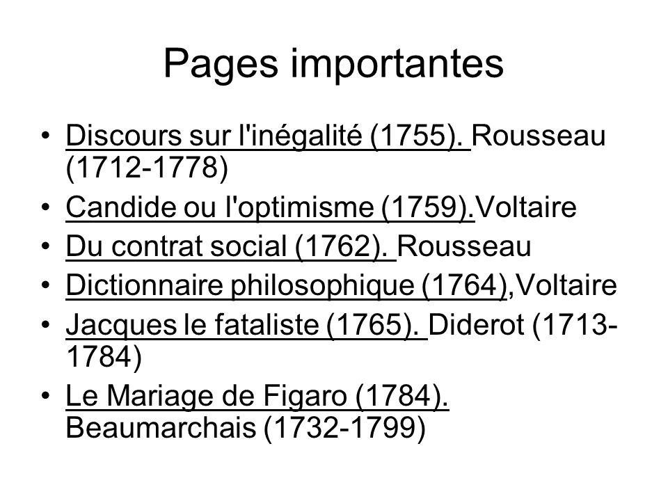 Pages importantes Discours sur l'inégalité (1755). Rousseau (1712-1778) Candide ou l'optimisme (1759).Voltaire Du contrat social (1762). Rousseau Dict