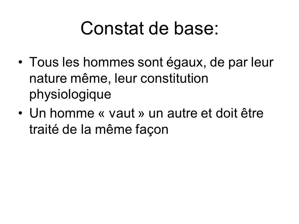 Constat de base: Tous les hommes sont égaux, de par leur nature même, leur constitution physiologique Un homme « vaut » un autre et doit être traité d