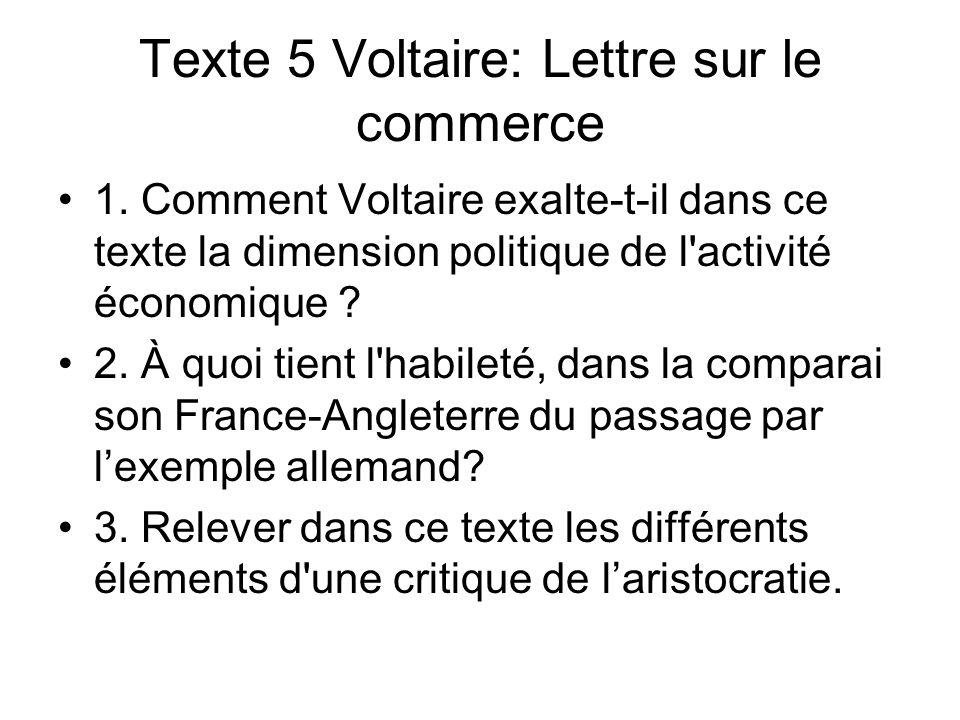 Texte 5 Voltaire: Lettre sur le commerce 1. Comment Voltaire exalte-t-il dans ce texte la dimension politique de l'activité économique ? 2. À quoi tie