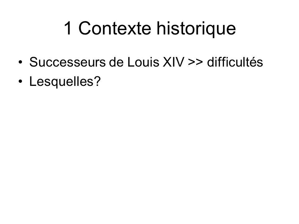 1 Contexte historique Successeurs de Louis XIV >> difficultés Lesquelles?