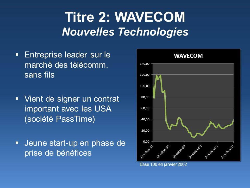 Titre 2: WAVECOM Nouvelles Technologies Entreprise leader sur le marché des télécomm. sans fils Vient de signer un contrat important avec les USA (soc