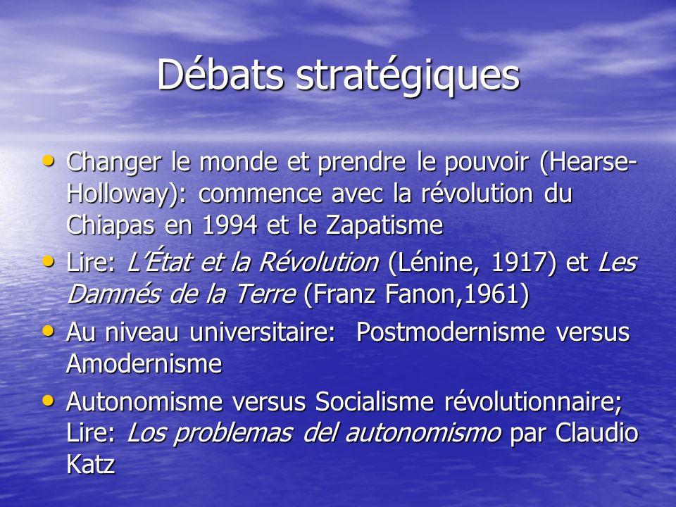 Débats stratégiques Changer le monde et prendre le pouvoir (Hearse- Holloway): commence avec la révolution du Chiapas en 1994 et le Zapatisme Changer