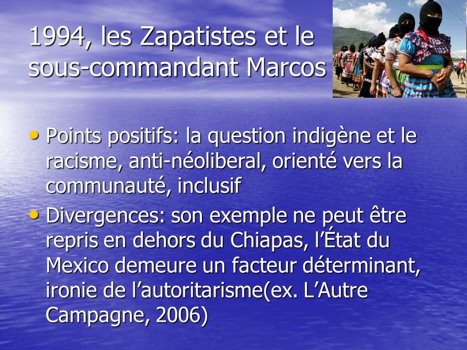 1994, les Zapatistes et le sous-commandant Marcos Points positifs: la question indigène et le racisme, anti-néoliberal, orienté vers la communauté, in