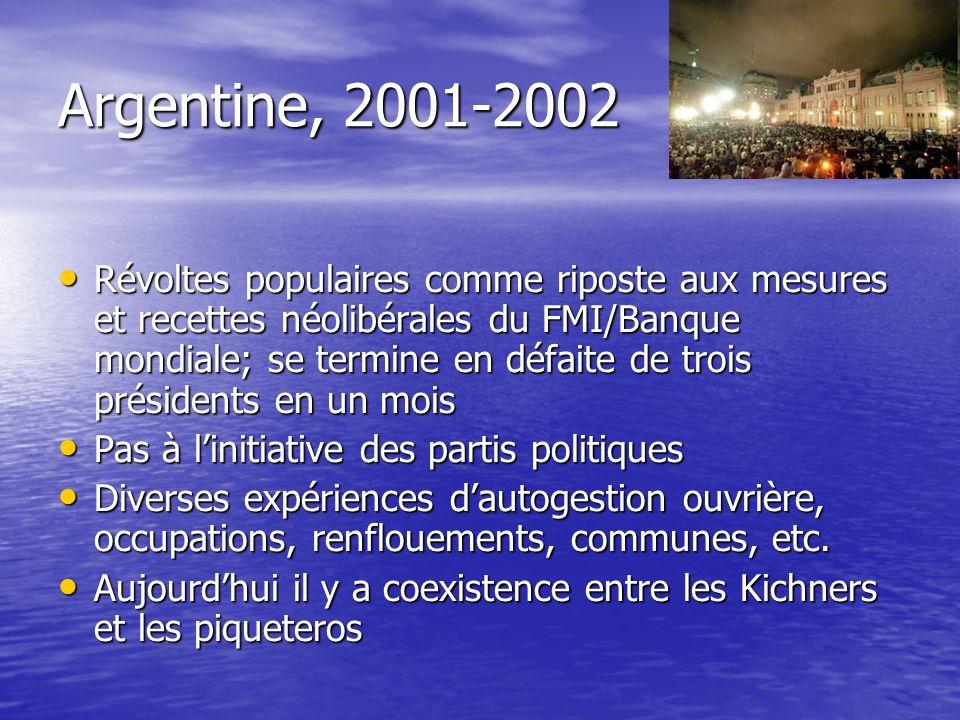 Argentine, 2001-2002 Révoltes populaires comme riposte aux mesures et recettes néolibérales du FMI/Banque mondiale; se termine en défaite de trois pré