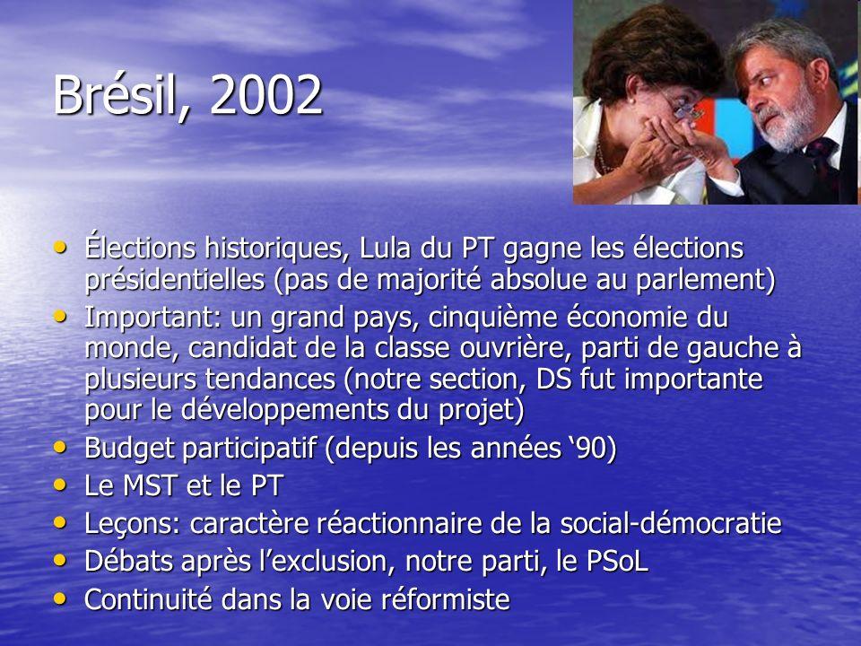 Brésil, 2002 Élections historiques, Lula du PT gagne les élections présidentielles (pas de majorité absolue au parlement) Élections historiques, Lula