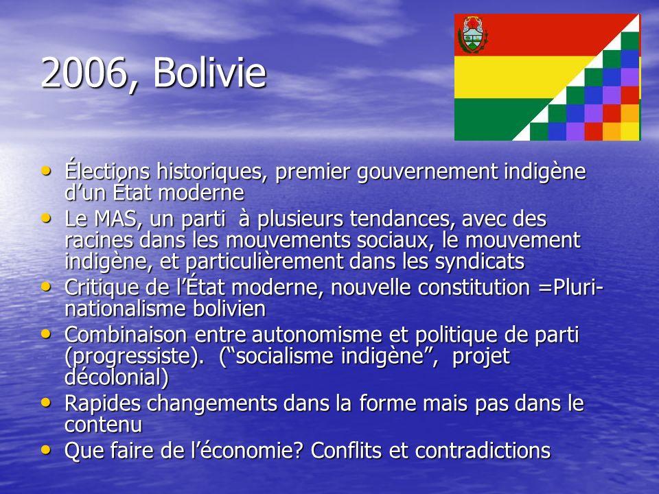 2006, Bolivie Élections historiques, premier gouvernement indigène dun État moderne Élections historiques, premier gouvernement indigène dun État mode